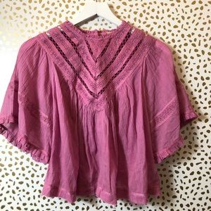 FREE PEOPLE small PURPLE cropped peasant blouse